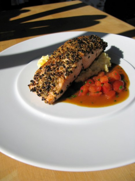 Fennel and black pepper crusted salmon with polenta on Bauscher Compliments line