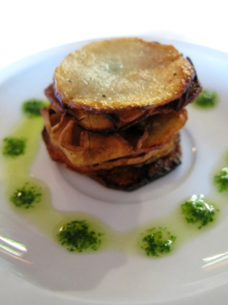 Potato and mushroom Napoleon with basil puree